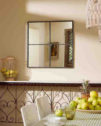 Window Pane Mirror (Distressed Black Metal Frame