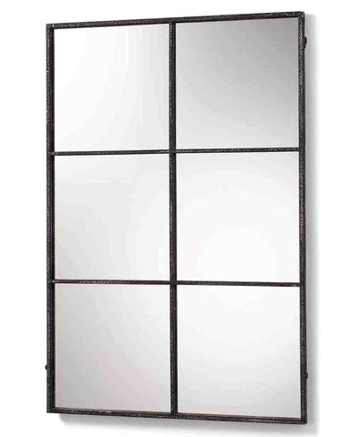 Window Pane Mirror (Distressed Black Metal Frame, 6 Panes, H:118cm)