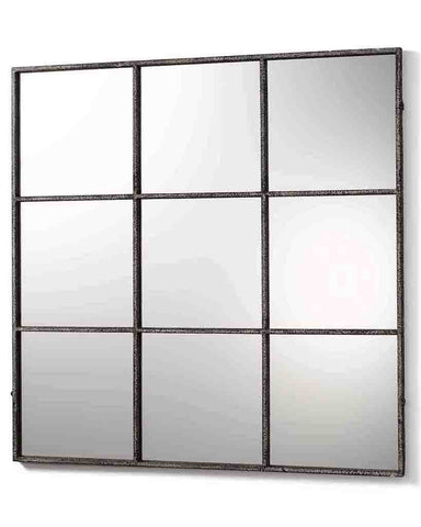 Window Pane Mirror (Distressed Black Metal Frame, 9 Panes, W:118cm)