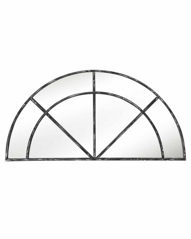 Window Pane Mirror (Semi-circular Distressed Black Metal Frame, W:118cm)