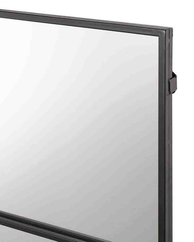 Window Pane Mirror (Matt Black Metal Frame, 9 Panes, W:118cm)-detail