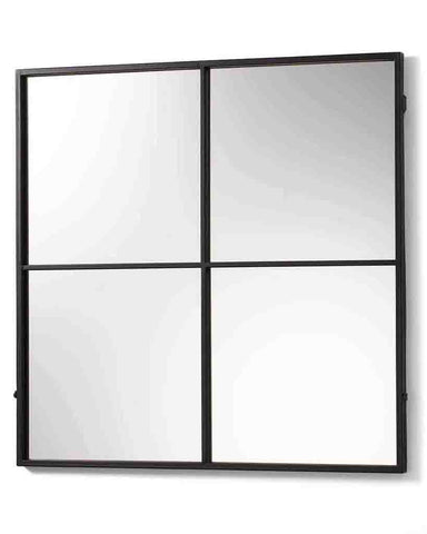 Window Pane Mirror (Matt Black Metal Frame, 4 Panes, H:80cm)