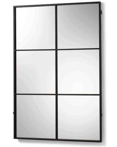 Window Pane Mirror (Matt Black Metal Frame, 6 Panes, H:118cm)