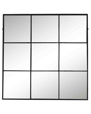 Window Pane Mirror (Matt Black Metal Frame