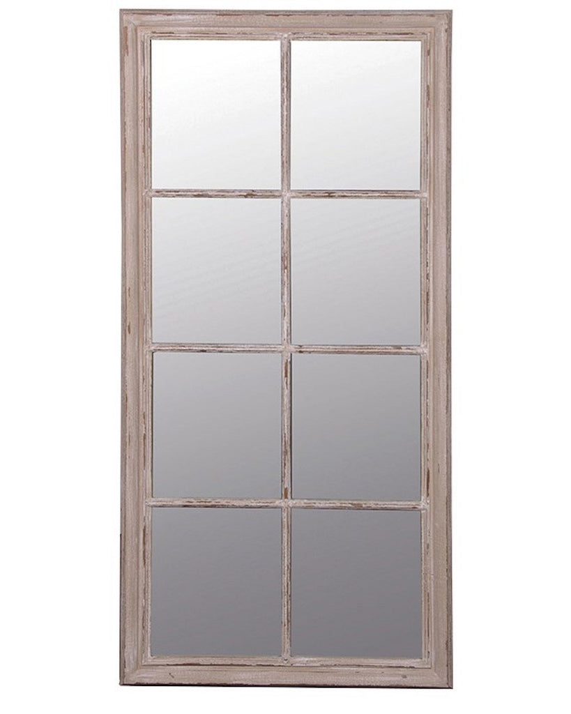 Window Mirror (Wooden Frame, Taupe Finish H:154cm) | Free Delivery
