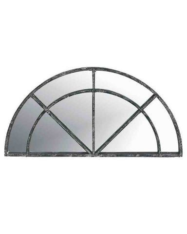 Window Pane Mirror (Semi-circular Distressed Black Metal Frame