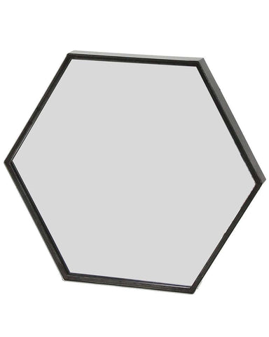 Zen - Black Metal Hexagon Wall Mirror W:30cm, Small