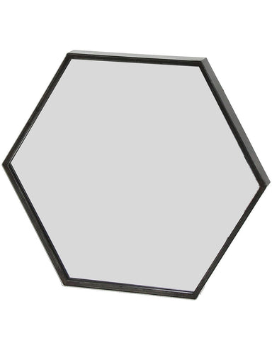 Zen - Black Metal Hexagon Wall Mirror W:45cm
