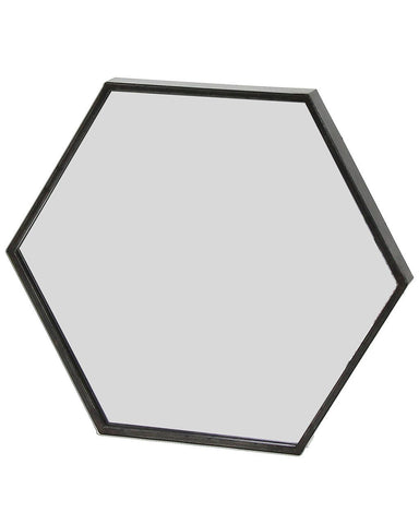 Zen - Black Metal Hexagon Wall Mirror W:60cm