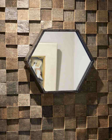 Zen - Small Hexagon Wall Mirror (Black Metal Frame