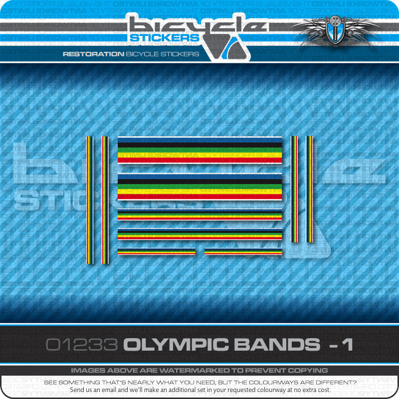 Olympic Bands Bicycle Decals - White Edges - www.bicyclestickers.co.uk