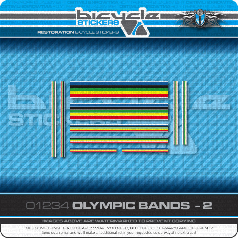 Olympic Bands Bicycle Decals - White Edges - White Separation - www.bicyclestickers.co.uk