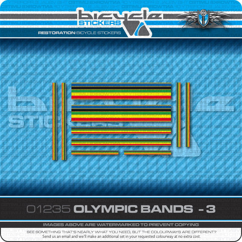 Olympic Bands Bicycle Decals - Silver Edges - Silver Separation - www.bicyclestickers.co.uk