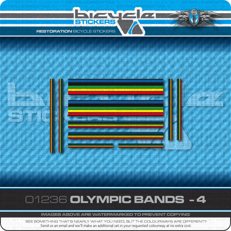 Olympic Bands Bicycle Decals - Black Edges - Black Separation - www.bicyclestickers.co.uk