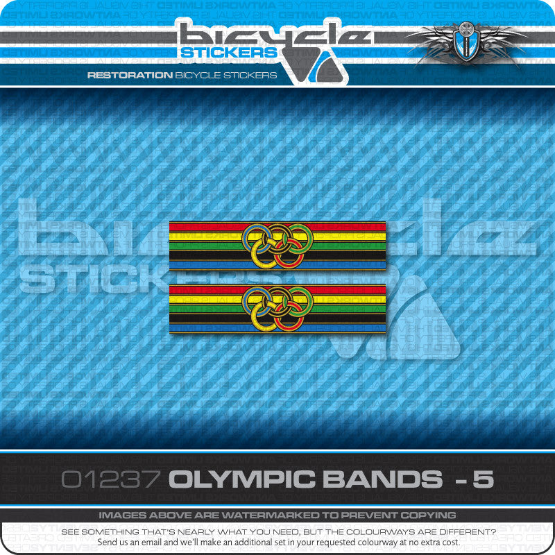 Olympic Ring Bands Bicycle Decals - www.bicyclestickers.co.uk