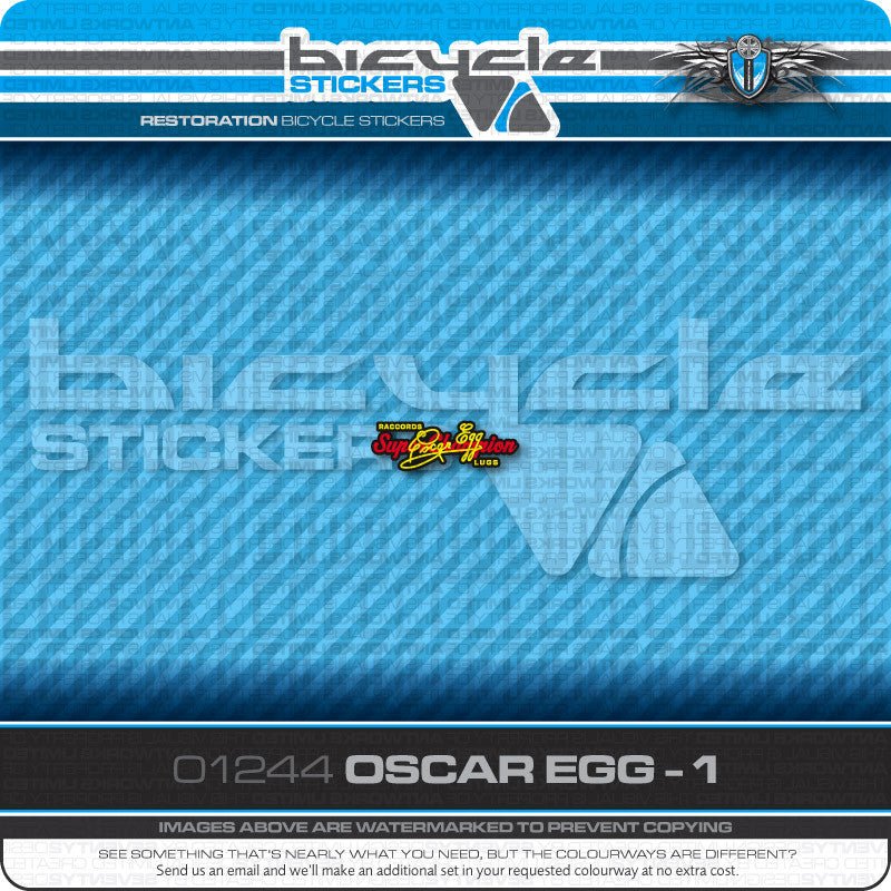 Transfers 01244 Oscar Egg Bicycle Stickers Decals