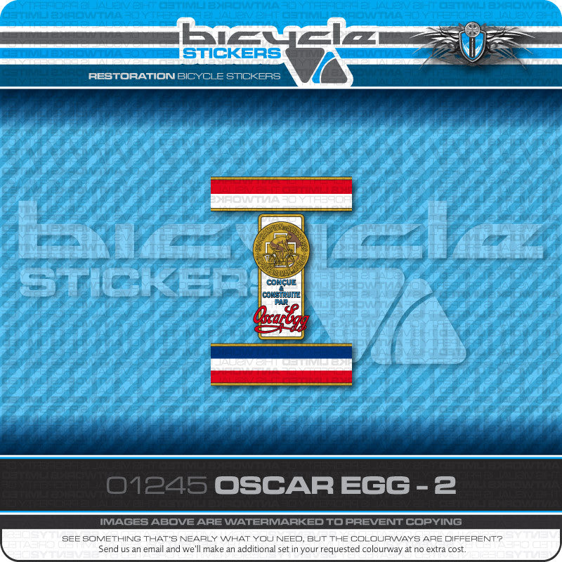 Oscar Egg Bicycle Decals - www.bicyclestickers.co.uk