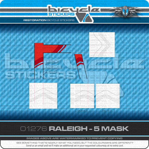 Raleigh Sirocco Bicycle Decal Masks - www.bicyclestickers.co.uk