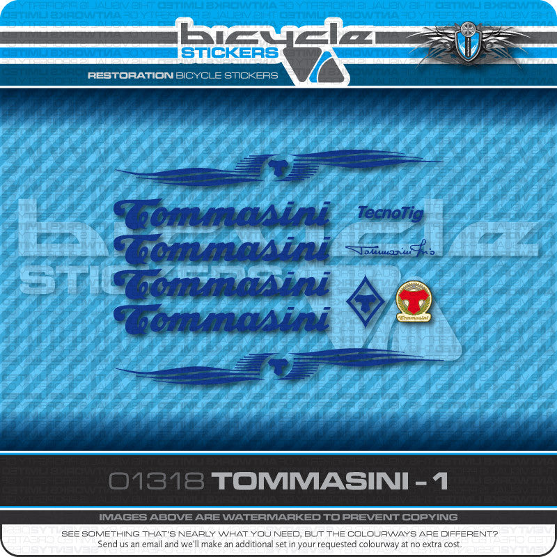 Tommasini Bicycle Decals - Blue - www.bicyclestickers.co.uk