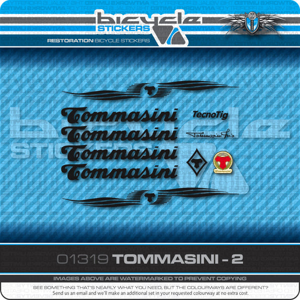 Tommasini Bicycle Decals - Black - www.bicyclestickers.co.uk