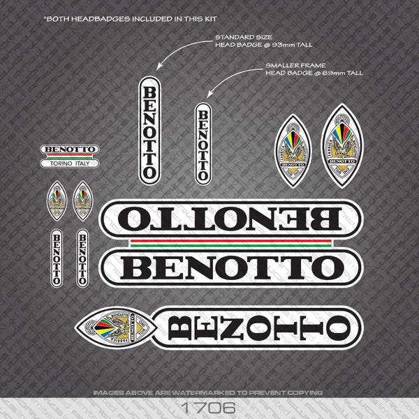 Benotto Bicycle Decals - Black Lettering On White Background