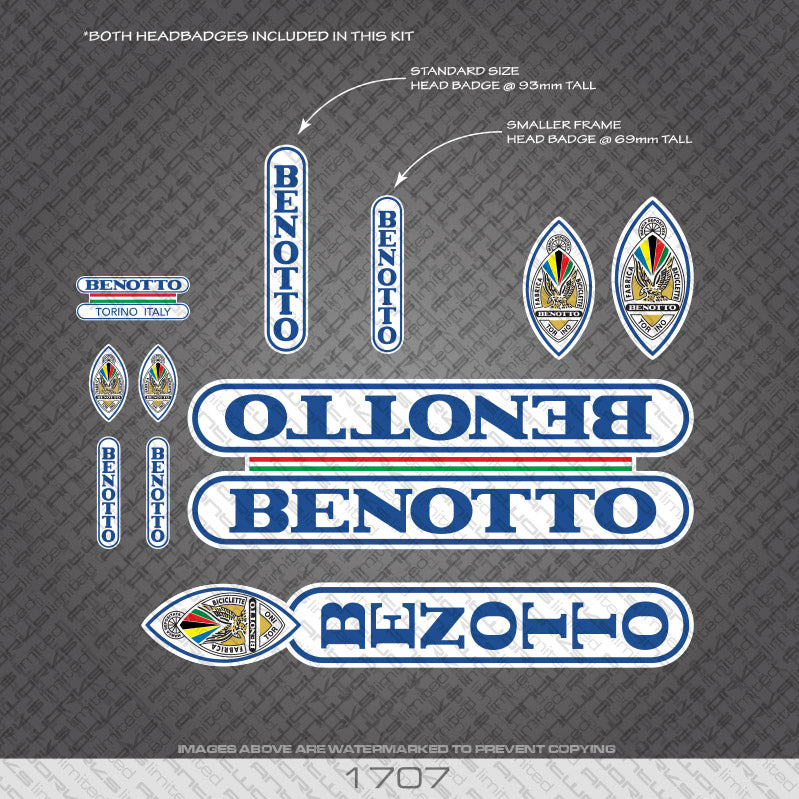 Benotto Bicycle Decals - Blue Lettering On White Background