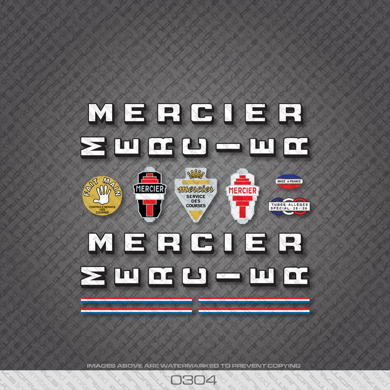 Mercier Services Des Courses Bicycle Decals - White/Black - www.bicyclestickers.co.uk