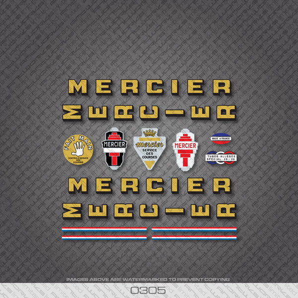 Mercier Services Des Courses Bicycle Decals - Gold/Black - www.bicyclestickers.co.uk