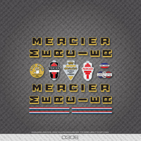 Mercier Services Des Courses Bicycle Decals - Black/Gold - www.bicyclestickers.co.uk