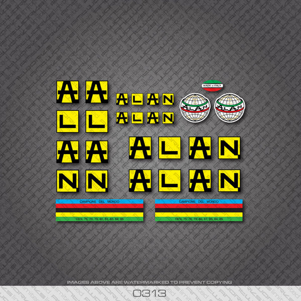 Alan Bicycle Decals In Black With Yellow Background - www.bicyclestickers.co.uk