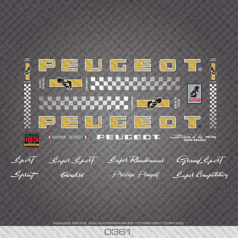 19 Colours Decals Peugeot PX//PY10 Bicycle Frame Stickers Transfers