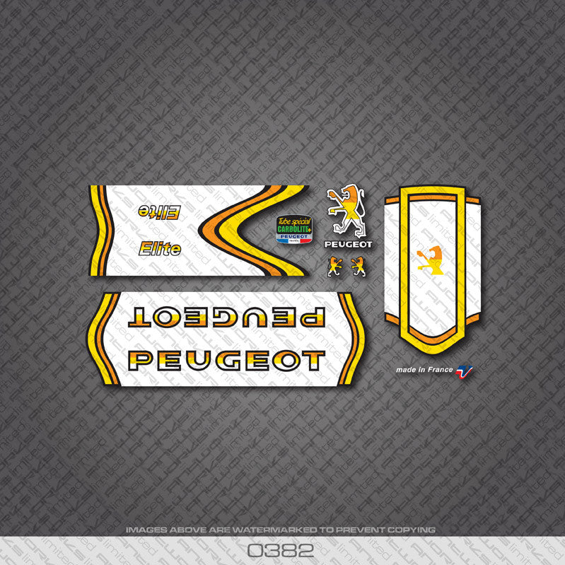 Peugeot Elite Bicycle Decals - Yellow - www.bicyclestickers.co.uk