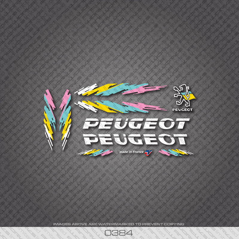Peugeot Bicycle Decals - White - www.bicyclestickers.co.uk