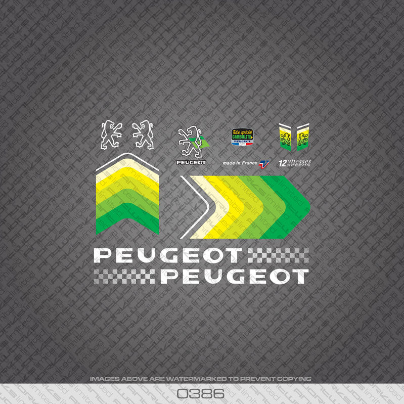 Peugeot Bicycle Decals - Green With White Text - www.bicyclestickers.co.uk