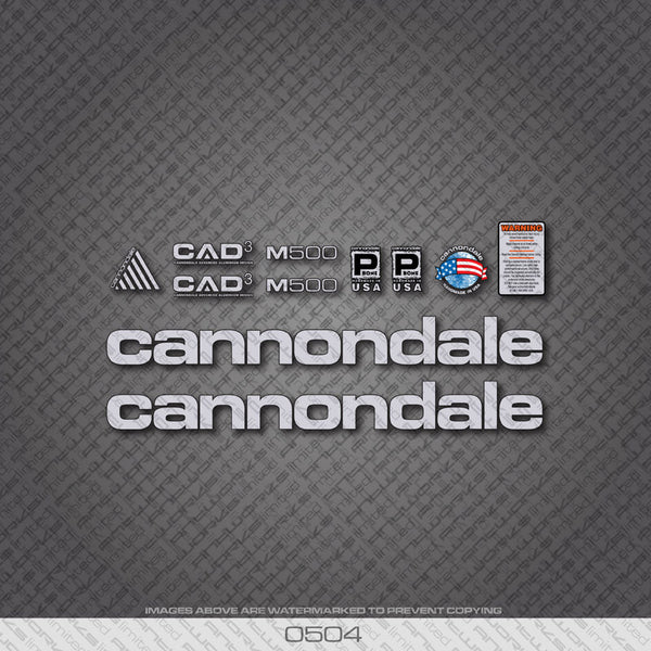 Cannondale M500 Bicycle Decals - Silver - www.bicyclestickers.co.uk