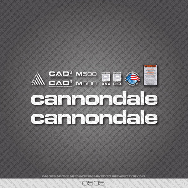 Cannondale M500 Bicycle Decals - White - www.bicyclestickers.co.uk
