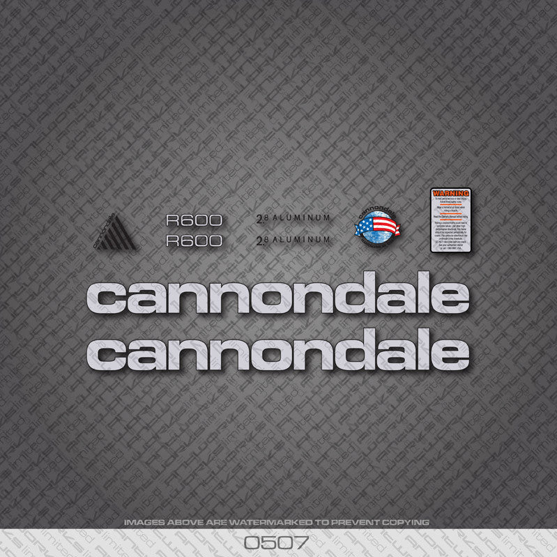 Cannondale R600 Bicycle Decals - Silver - www.bicyclestickers.co.uk