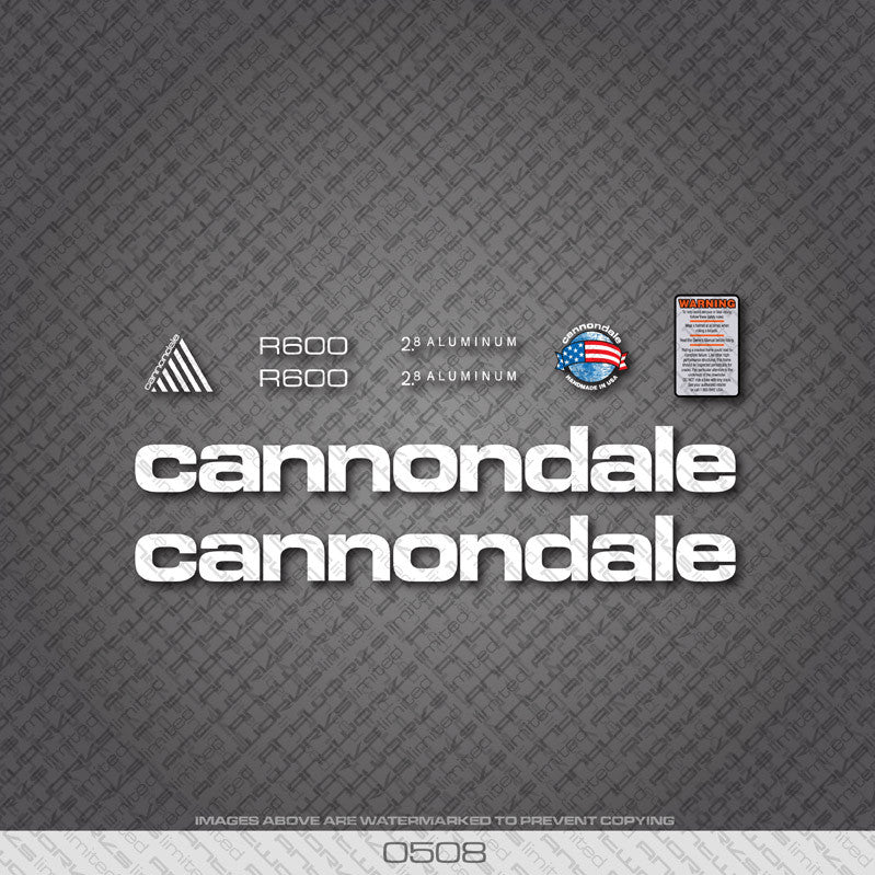 Cannondale R600 Bicycle Decals - White - www.bicyclestickers.co.uk