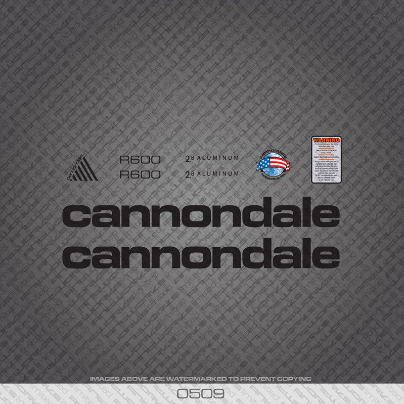 Cannondale R600 Bicycle Decals - Black - www.bicyclestickers.co.uk