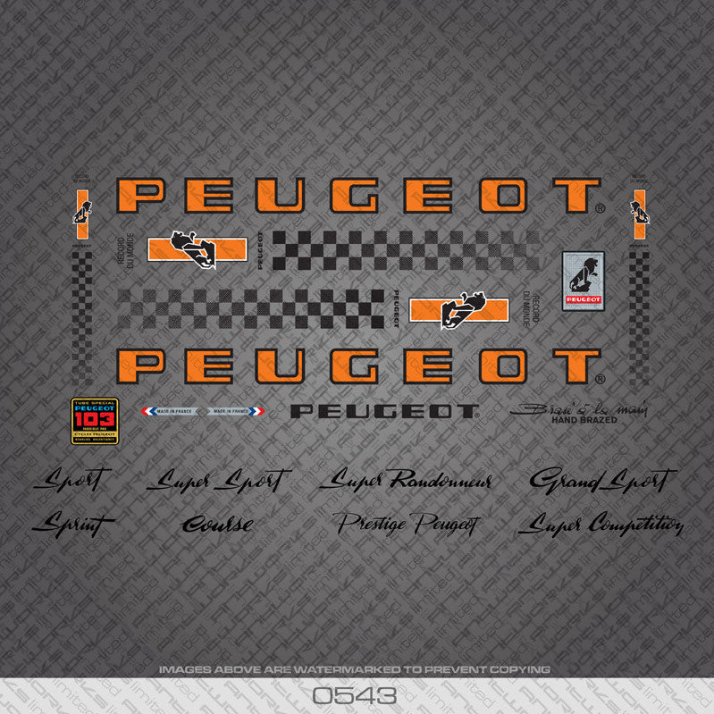 Peugeot PX/PY10 Bicycle Decals - Orange/Black - www.bicyclestickers.co.uk