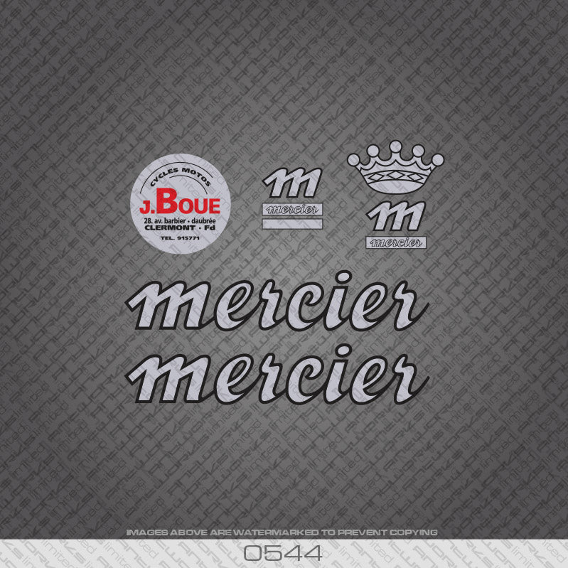 1980's Mercier Bicycle Decals - Silver