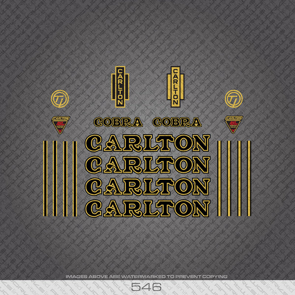 Carlton Cobra Bicycle Decals - Black/Gold
