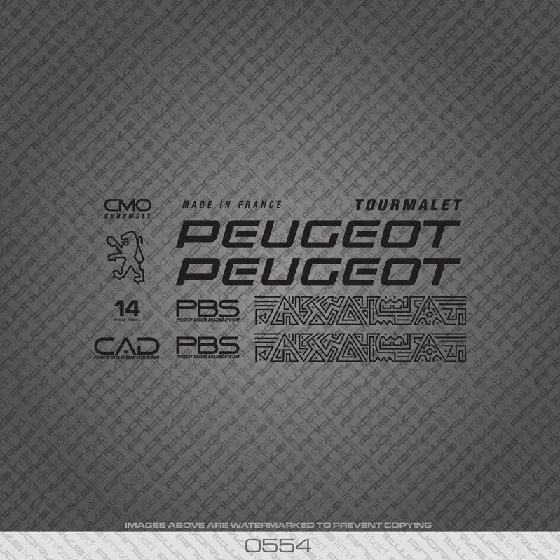 Peugeot Tourmalet Bicycle Decals - Black - www.bicyclestickers.co.uk