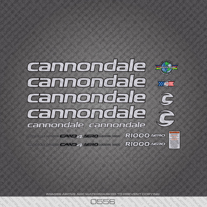 Cannondale R1000 Aero Bicycle Decals - Silver Lettering - www.bicyclestickers.co.uk