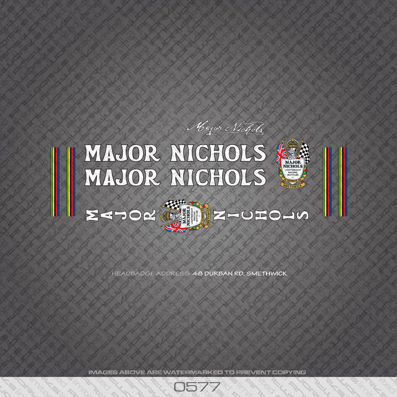 Major Nichols Bicycle Decals - White Lettering - www.bicyclestickers.co.uk