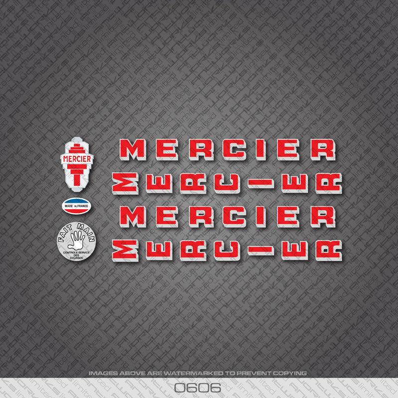 Mercier Services Des Courses Bicycle Decals - Red - www.bicyclestickers.co.uk