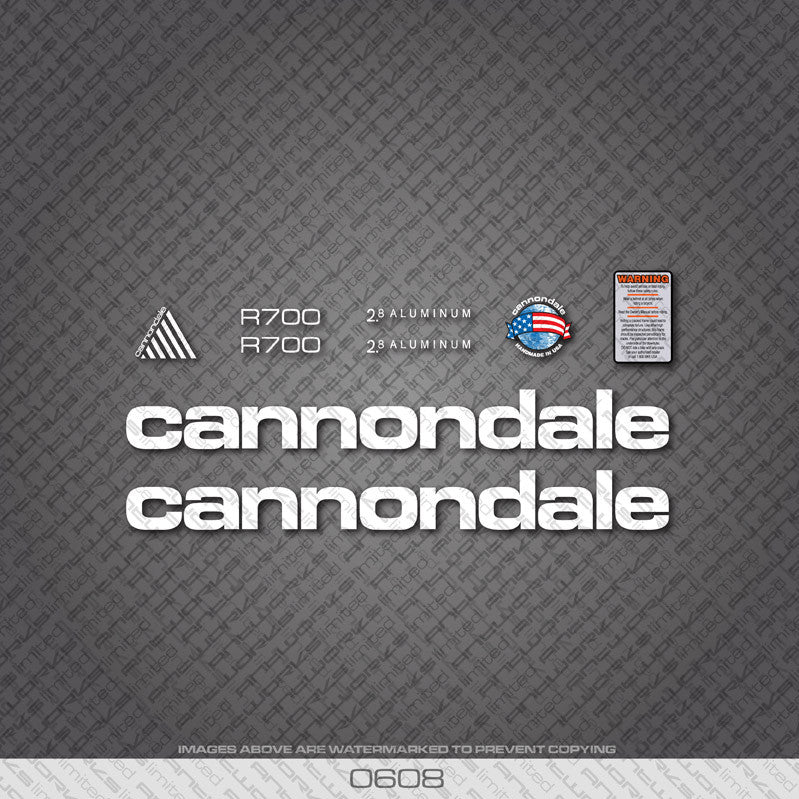 Cannondale R700 Bicycle Decals - White - www.bicyclestickers.co.uk