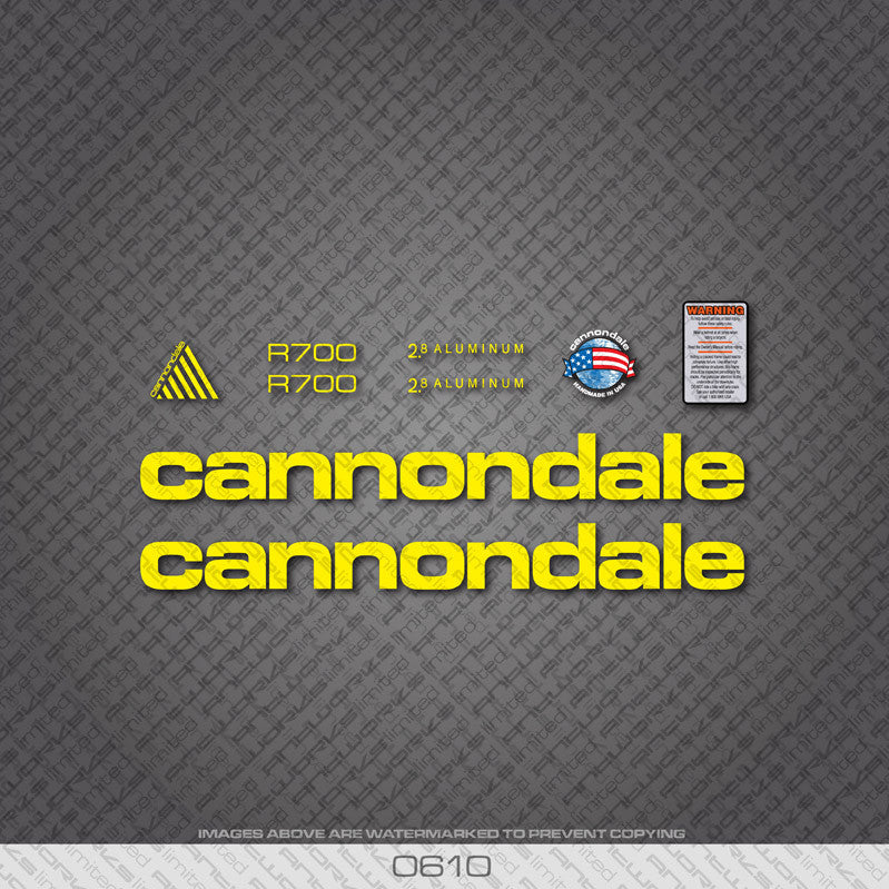 Cannondale R700 Bicycle Decals - Yellow - www.bicyclestickers.co.uk