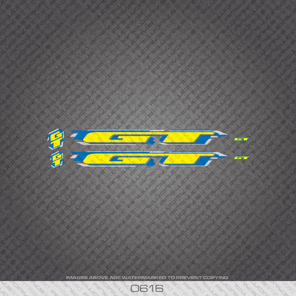 GT Bicycle Decals - Yellow With Blue Keyline - www.bicyclestickers.co.uk
