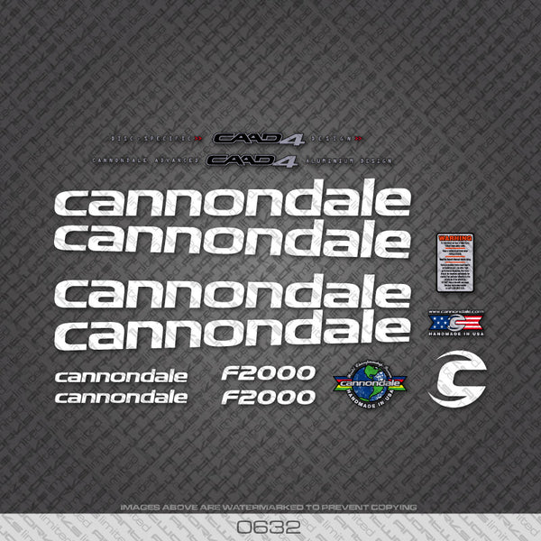 Cannondale F2000 Bicycle Decals - White Lettering With Black Keyline - www.bicyclestickers.co.uk
